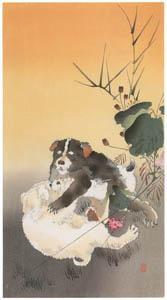 thumbnail Ohara Koson – Playing Puppies [from Hanga Geijutsu No.180]