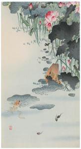 thumbnail Ohara Koson – Frog and Lotus [from Hanga Geijutsu No.180]