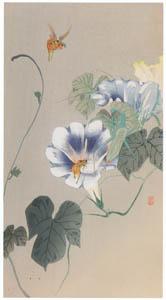thumbnail Ohara Koson – Bee, Mantis and Morning Glory [from Hanga Geijutsu No.180]
