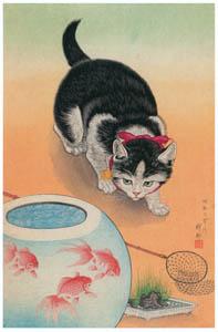 thumbnail Ohara Koson – Cat and Fishbowl [from Hanga Geijutsu No.180]
