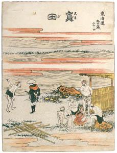 thumbnail Katsushika Hokusai – 24. Shimada-juku (53 Stations of the Tōkaidō) [from Meihin Soroimono Ukiyo-e]