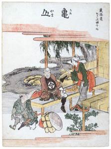 thumbnail Katsushika Hokusai – 47. Kameyama-juku (53 Stations of the Tōkaidō) [from Meihin Soroimono Ukiyo-e]