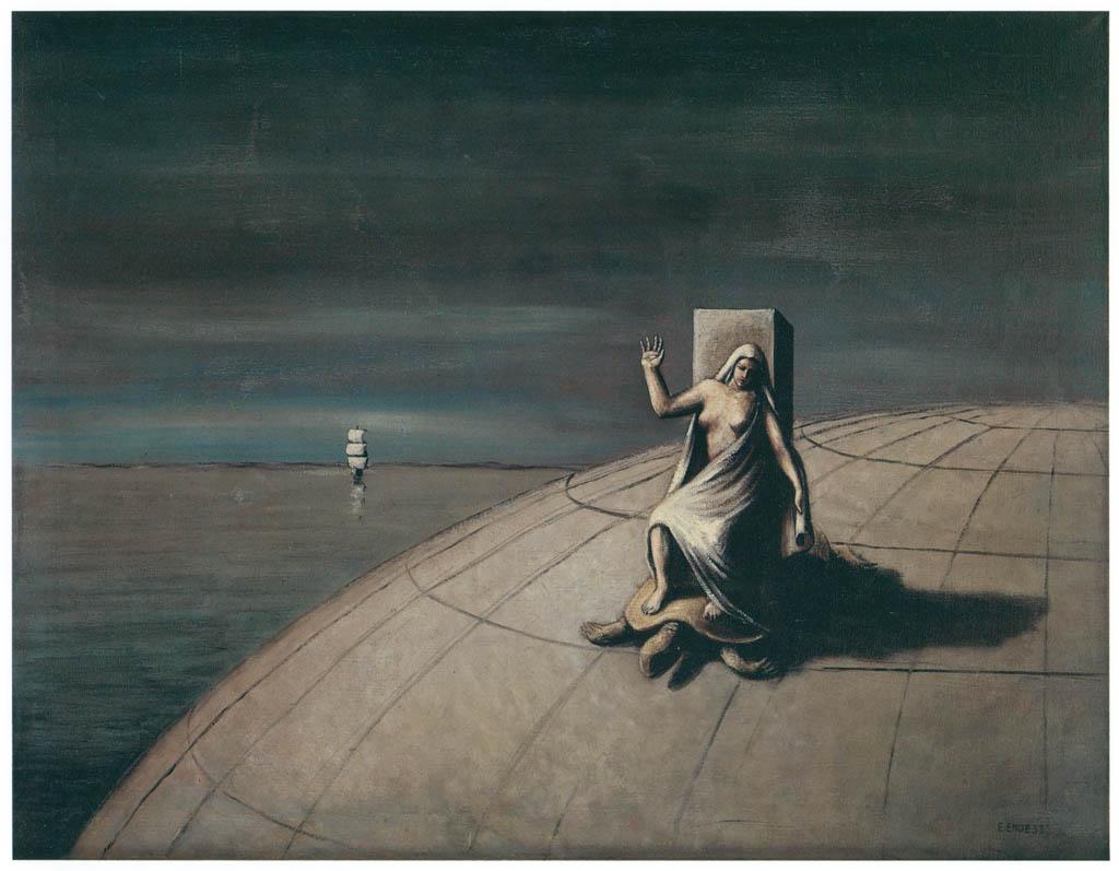 エドガー・エンデ – 亀に乗った婦人 [エンデ父子展より] パブリックドメイン画像