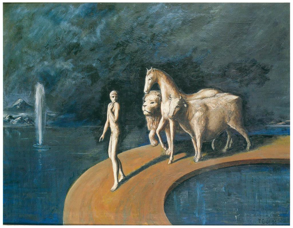 エドガー・エンデ – 若者と動物たち [エンデ父子展より] パブリックドメイン画像