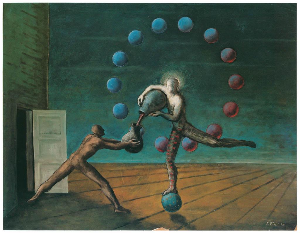 エドガー・エンデ – 球のうえの踊り手 [エンデ父子展より] パブリックドメイン画像