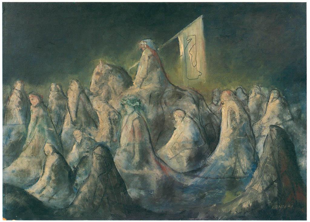 エドガー・エンデ – 雪に降りこめられた行進 [エンデ父子展より] パブリックドメイン画像
