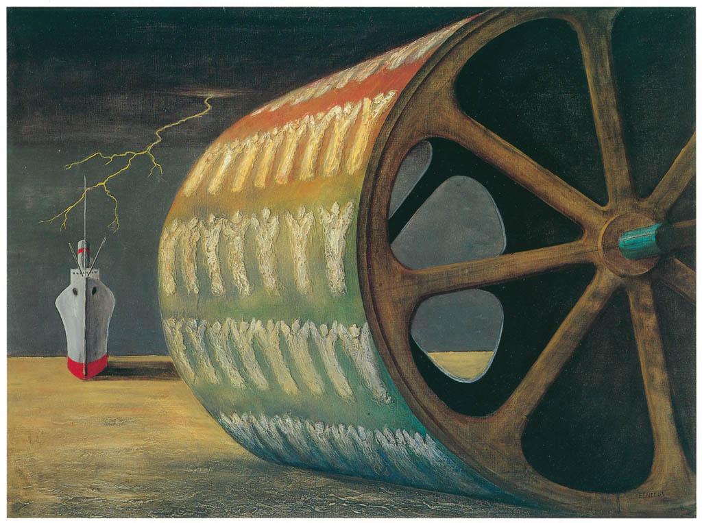 エドガー・エンデ – 天使ローラー [エンデ父子展より] パブリックドメイン画像
