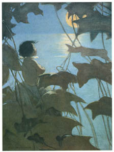 thumbnail Jessie Willcox Smith – He looked up at the broad yellow moon and thought that she looked at him. [from The Water Babies]