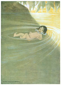 thumbnail Jessie Willcox Smith – He felt how comfortable it was to have nothing  on him but himself. [from The Water Babies]
