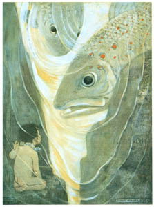 "thumbnail Jessie Willcox Smith – ""Oh, don't hurt me! cried Tom. I only want to look at you; you are so handsome"" [from The Water Babies]"