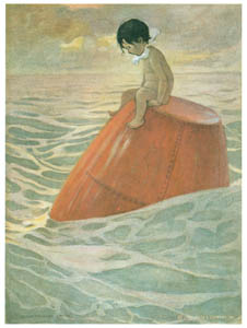 thumbnail Jessie Willcox Smith – Tom sat upon the buoy long days, long weeks, looking out to sea. [from The Water Babies]