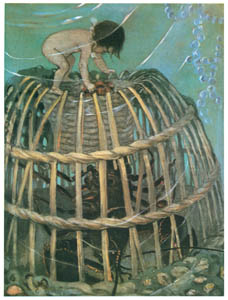 thumbnail Jessie Willcox Smith – Tom reached and clawed down the hole after him … the clumsy lobster pulled him in head-foremost. [from The Water Babies]