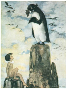thumbnail Jessie Willcox Smith – And there he saw the last of the Gairfowl, standing up on the Allalonestone, all alone [from The Water Babies]