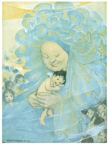 """thumbnail Jessie Willcox Smith – """"You are our dear Mrs. Do-as-you-would-be-done-by."""" [from The Water Babies]"""