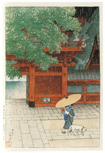 thumbnail Hasui Kawase – Twelve Subjects of Tokyo : Sanno Shrine in the Early Summer Rain [from Kawase Hasui 130th Anniversary Exhibition Catalogue]