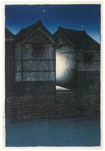 thumbnail Hasui Kawase – Twelve Subjects of Tokyo : Shinkawa at Night [from Kawase Hasui 130th Anniversary Exhibition Catalogue]