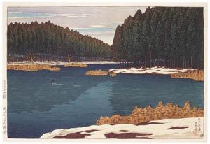 thumbnail Hasui Kawase – Twelve Subjects of Tokyo : Lingering Snow at Inokashira [from Kawase Hasui 130th Anniversary Exhibition Catalogue]