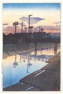 thumbnail Hasui Kawase – Twelve Subjects of Tokyo : Dusk at Kiba [from Kawase Hasui 130th Anniversary Exhibition Catalogue]