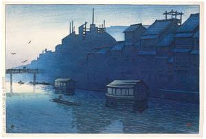thumbnail Hasui Kawase – Souvenirs of My Travels, 2nd Series : Morning at Dotombori Canal, Osaka [from Kawase Hasui 130th Anniversary Exhibition Catalogue]