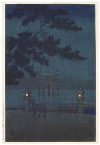thumbnail Hasui Kawase – Souvenirs of My Travels, 2nd Series : Hazy Moonlit Night (Miyajima) [from Kawase Hasui 130th Anniversary Exhibition Catalogue]