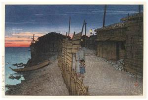 thumbnail Hasui Kawase – Souvenirs of My Travels, 2nd Series : Aikawamachi, Sado [from Kawase Hasui 130th Anniversary Exhibition Catalogue]