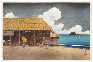 thumbnail Hasui Kawase – Souvenirs of My Travels, 2nd Series : Seaside Cottage (Etchu-Himi) [from Kawase Hasui 130th Anniversary Exhibition Catalogue]