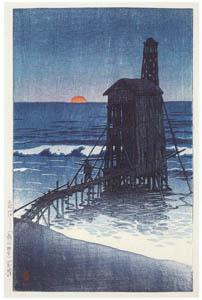 thumbnail Hasui Kawase – Setting Sun (Gōmoto, Echigo) [from Kawase Hasui 130th Anniversary Exhibition Catalogue]