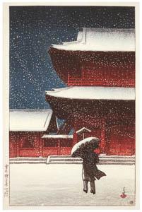 thumbnail Hasui Kawase – Zojoji Temple in the Snow [from Kawase Hasui 130th Anniversary Exhibition Catalogue]