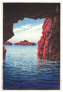 thumbnail Hasui Kawase – Souvenirs of My Travels, 3rd Series: Kojaku Cavern, Oga Peninsula [from Kawase Hasui 130th Anniversary Exhibition Catalogue]
