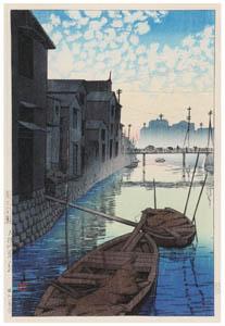 thumbnail Hasui Kawase – Twenty Views of Tokyo : Morning View at Daikon Shore [from Kawase Hasui 130th Anniversary Exhibition Catalogue]