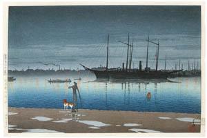 thumbnail Hasui Kawase – Twenty Views of Tokyo : Akashicho after Rain [from Kawase Hasui 130th Anniversary Exhibition Catalogue]