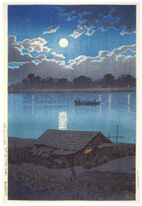 thumbnail Hasui Kawase – Twenty Views of Tokyo : Moon at the Arakawa RIVer (Akabane) [from Kawase Hasui 130th Anniversary Exhibition Catalogue]