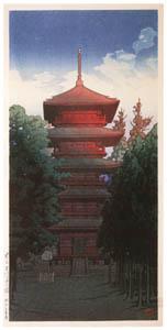 thumbnail Hasui Kawase – The Pagoda of Ikegami Hommonji Temple [from Kawase Hasui 130th Anniversary Exhibition Catalogue]