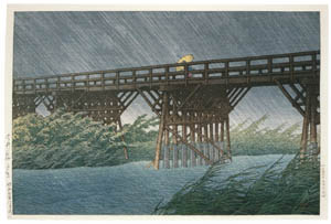 thumbnail Hasui Kawase – Evening Rain at Imai Bridge [from Kawase Hasui 130th Anniversary Exhibition Catalogue]