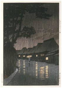 thumbnail Hasui Kawase – Selected Scenes of Tokaido Road : Rain at Maekawa in Sagami Province [from Kawase Hasui 130th Anniversary Exhibition Catalogue]