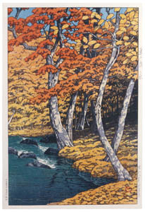 thumbnail Hasui Kawase – Japanese Sceneries, Eastern Japan Series : Autumn at Oirase [from Kawase Hasui 130th Anniversary Exhibition Catalogue]