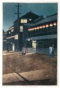 thumbnail Hasui Kawase – Japanese Sceneries II, Kansai Series : Evening at Soemon Town, Osaka [from Kawase Hasui 130th Anniversary Exhibition Catalogue]