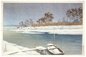 川瀬巴水 – 越ヶ谷の雪 [生誕130年 川瀬巴水展 郷愁の日本風景より]のサムネイル画像