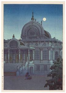 thumbnail Hasui Kawase – One Hundred Views of New Tokyo : Evening Moon at Hongan Temple, Tsukiji [from Kawase Hasui 130th Anniversary Exhibition Catalogue]