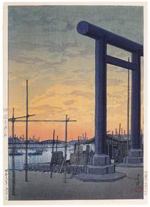 thumbnail Hasui Kawase – One Hundred Views of New Tokyo : Tsukuda Sumiyoshi Shrine [from Kawase Hasui 130th Anniversary Exhibition Catalogue]