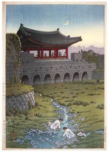 thumbnail Hasui Kawase – Eight Views of Korea : Hwahongmun Gate, Suwon [from Kawase Hasui 130th Anniversary Exhibition Catalogue]