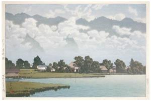 thumbnail Hasui Kawase – Lake Kizaki, Shinshu [from Kawase Hasui 130th Anniversary Exhibition Catalogue]
