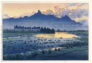 thumbnail Hasui Kawase – Shikishima Riverbank, Maebashi [from Kawase Hasui 130th Anniversary Exhibition Catalogue]