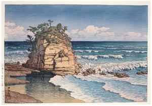 thumbnail Hasui Kawase – Eboshi Rock, Kawarago [from Kawase Hasui 130th Anniversary Exhibition Catalogue]
