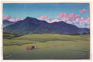 thumbnail Hasui Kawase – Dusk at Aso (Outer Crater)  [from Kawase Hasui 130th Anniversary Exhibition Catalogue]