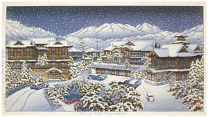 thumbnail Hasui Kawase – Fujiya Hotel in Hakone (Winter) [from Kawase Hasui 130th Anniversary Exhibition Catalogue]