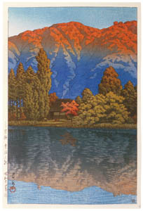 thumbnail Hasui Kawase – Morning at Aonuma Marsh, Ura Heights [from Kawase Hasui 130th Anniversary Exhibition Catalogue]