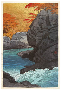 thumbnail Hasui Kawase – Autumn at Tengui Cliffs, Shiobara [from Kawase Hasui 130th Anniversary Exhibition Catalogue]
