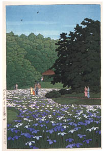 thumbnail Hasui Kawase – Iris Garden at Meiji Shrine [from Kawase Hasui 130th Anniversary Exhibition Catalogue]