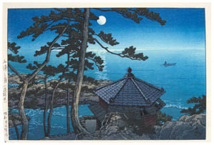 thumbnail Hasui Kawase – Moon at Goura, Ibaragi [from Kawase Hasui 130th Anniversary Exhibition Catalogue]